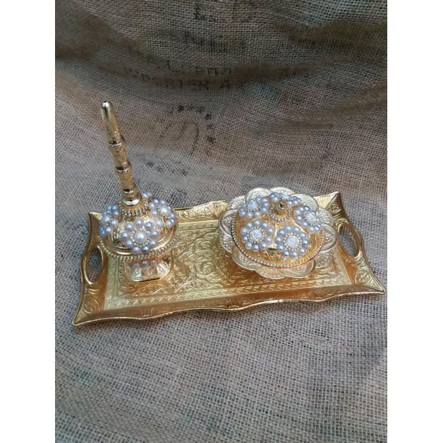 Gold inci taşlı ikram takımı 2