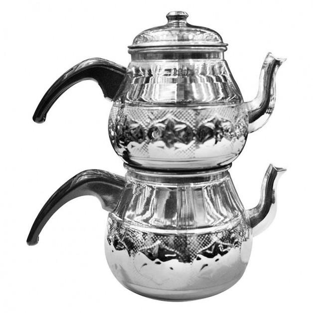 Bakır Büyük Tombik Çaydanlık Bakalit Kulplu