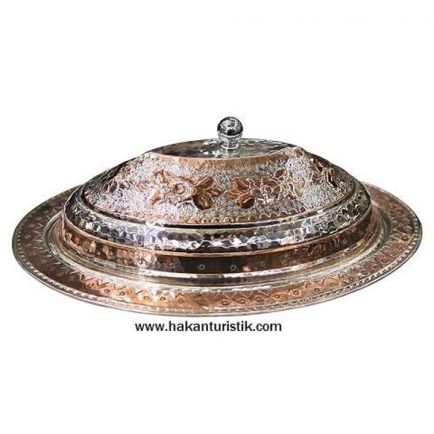 40 cm Gümüş Kaplama Bakır Kapaklı Sahan